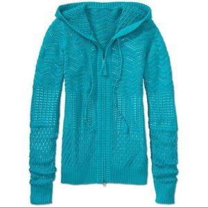 Athleta Shoreline Hoodie Open Knit Jacket Sz L